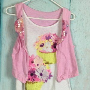 Justice Sz 18 Pink Sleeveless Girl t Sirt